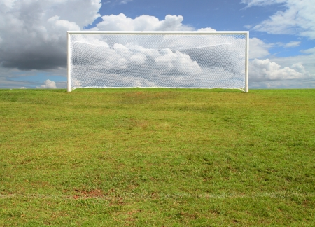 pitch: soccerball goal on blue sky