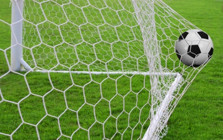 Soccer ball in the goal photo