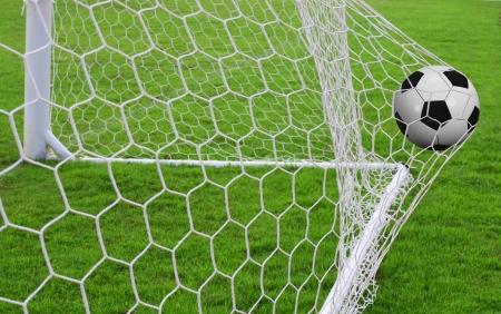 Soccer ball in the goal Stock Photo - 15589071