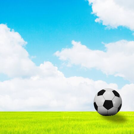 soccer ball on blue sky Stock Photo