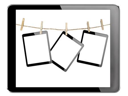 tablet computer pc with isolated screen in Wood clamps on white background Stock Photo - 15589078