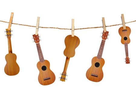 acoustic ukulele: ukulele guitar family from Hawaiian in Wood clamps