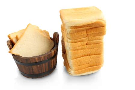 casks: Slice of bread casks. Stock Photo