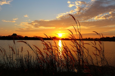 Sunset in the reservoir area. Stock Photo