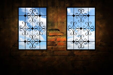 Windows on the cement wall. Stock Photo - 11764709