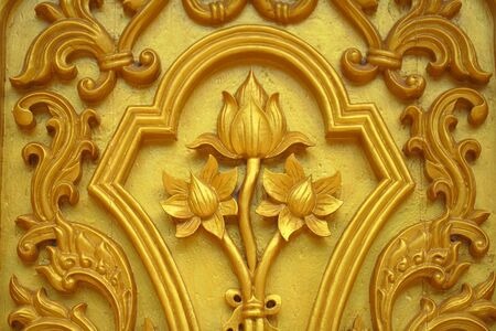 Lotus carvings on the doors of the temple  photo