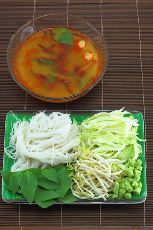 Thai cuisine name Noodle fluid coconut milk  photo