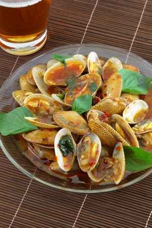 Thai cuisine name Fried shellfish ,Made of sea shells  photo