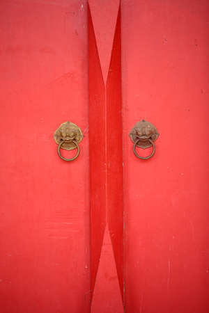 Red wooden door  photo