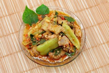Thai cuisine name Stir-fried spicy pork  photo