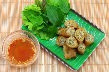 vietnamese food: Vietnamese food Miang fried ,Wrapped in a flour made   from vegetables and spices and then fried