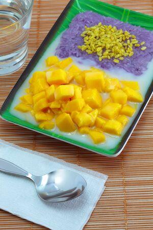 Thai desserts name Mango sticky rice  photo