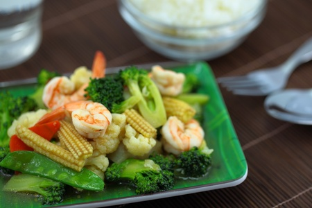 Fried shrimp and vegetables  photo