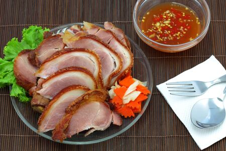 Fried pork and sauce  photo