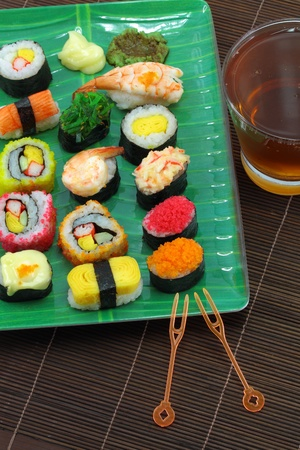 Japanese cuisine including sushi types  photo
