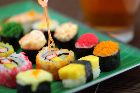 Japanese cuisine including sushi types  Stock Photo - 13031424