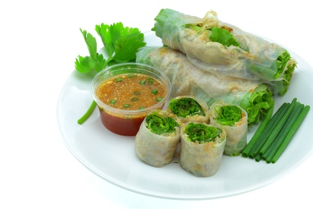 vietnamese food: Vietnamese food Fresh Miang,Wrapped in a flour made from vegetables and spices