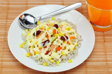 fruit salads: Fruit salads and drinks  Stock Photo