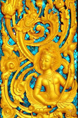 thai motifs: Thai Buddhist temple in the motifs  This is a public property owners to make a donation to the site  Stock Photo