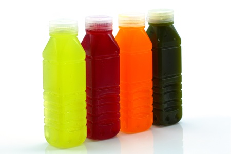 Many kinds of fruit juice in the bottle