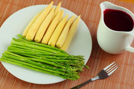 aquatic herb: Asparagus and corn with the juice
