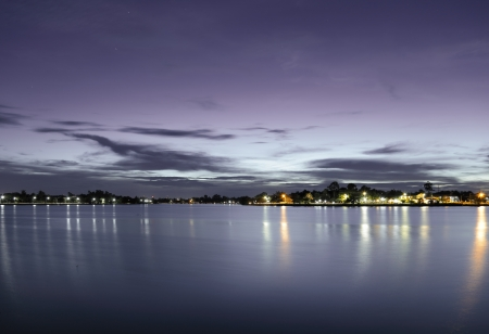 Twilight view of the lake  photo