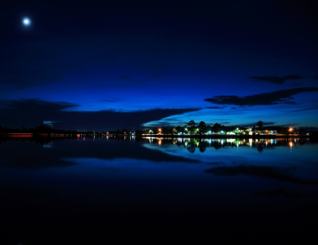 Night scenery along the river  Stock Photo - 15407443