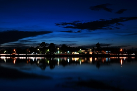 Night scenery along the river