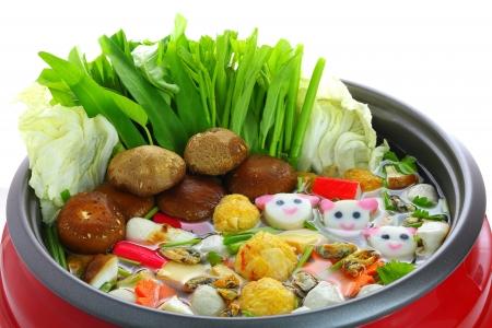 Restaurant menu's in sukiyaki pot Stockfoto