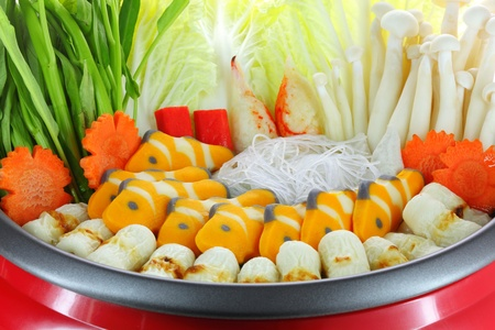 Restaurant menus in sukiyaki pot  Meatballs and vegetables   photo