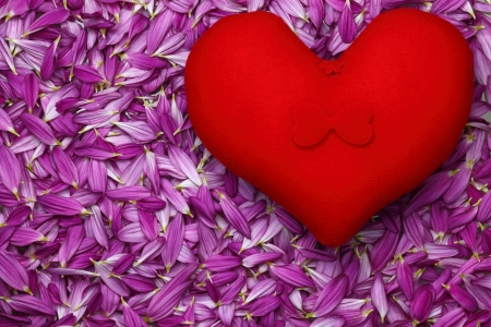 Close-up of red hearts on a background of petals. Stock Photo - 18310300