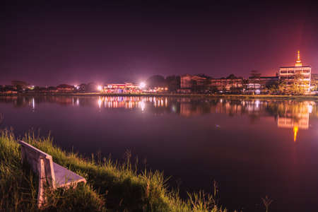 Lake landscape at night in Ubon Ratchathani, Thailand. Stock Photo - 18599589