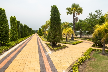 View of the garden pathway. Stock Photo