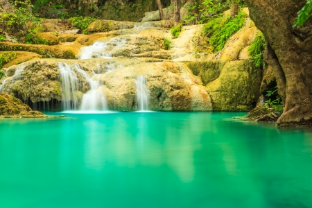 Erawan waterfall in Kanchanaburi, Thailand Stock Photo - 21129115