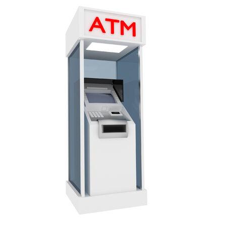 3d atm cash dispenser in white. Stock Photo