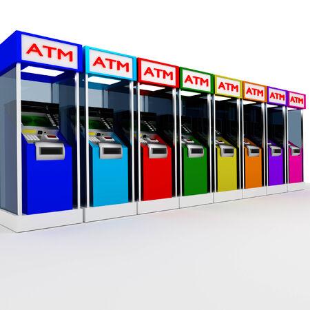 cash dispenser: 3d atm many cash dispenser in white.