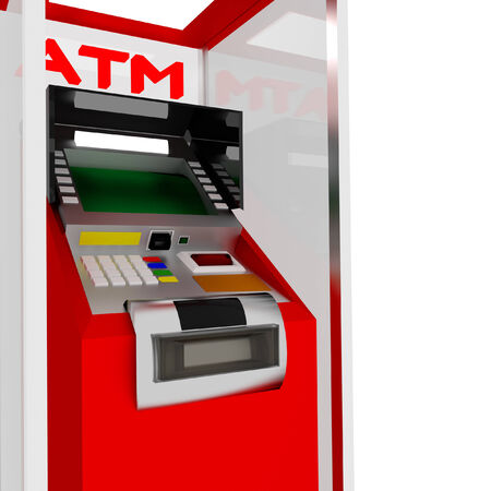 3d red atm cash dispenser in white. photo
