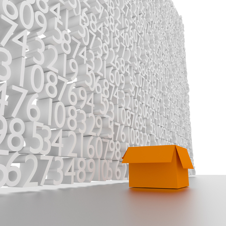 Concept walls of the box and letters 3d. photo