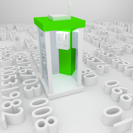 3d green telephone numbers in the concept. photo