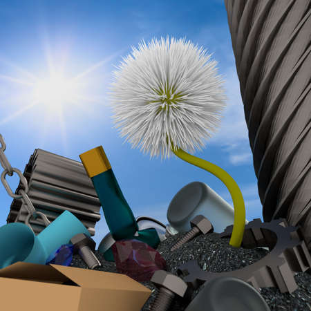 3d flowers on the garbage heap. photo