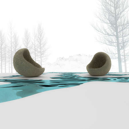3d armchair with modern ideas on the tree in winter. photo