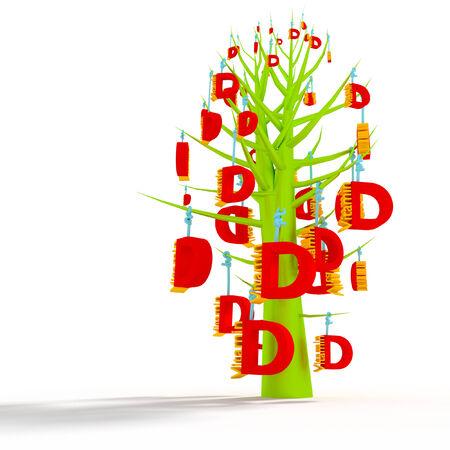vitamin d: Vitamin d tree 3d concept  Stock Photo