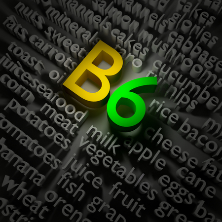 3d text concept of vitamin B6 on the subject of food.