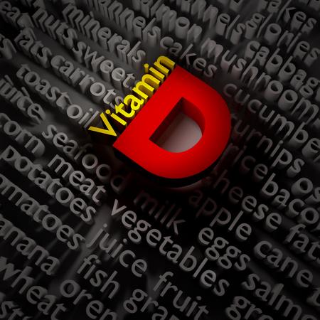 食べ物の話題のビタミン D の 3 d テキストの概念。