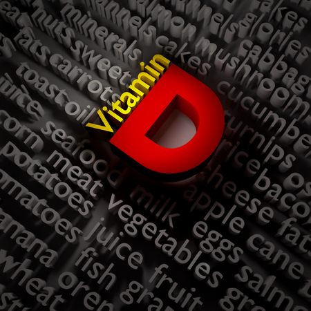 3d text concept of vitamin D on the subject of food.