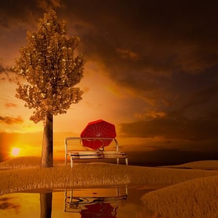 3d concept with a chair in the pasture. photo