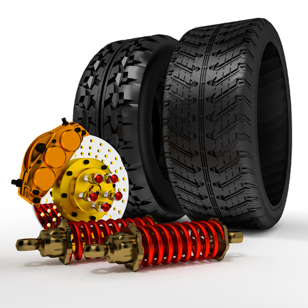 Accessory 3d brakes, shock absorbers, tires. photo