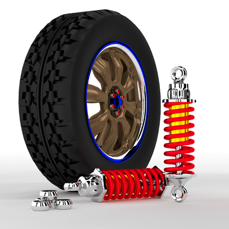 Alloy Shock Absorber 3d and on white background. photo