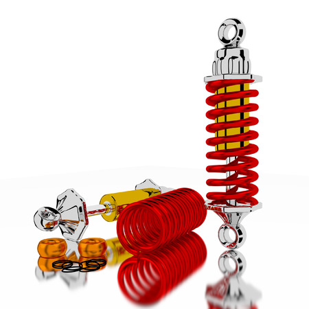 shock absorber: Shock Absorber 3d on white background. Stock Photo