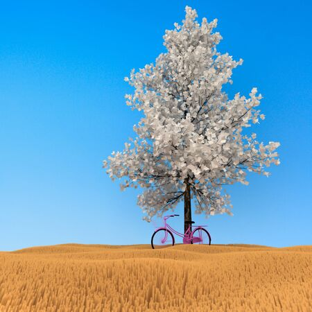 3d bicycle under the tree in the background fields. photo